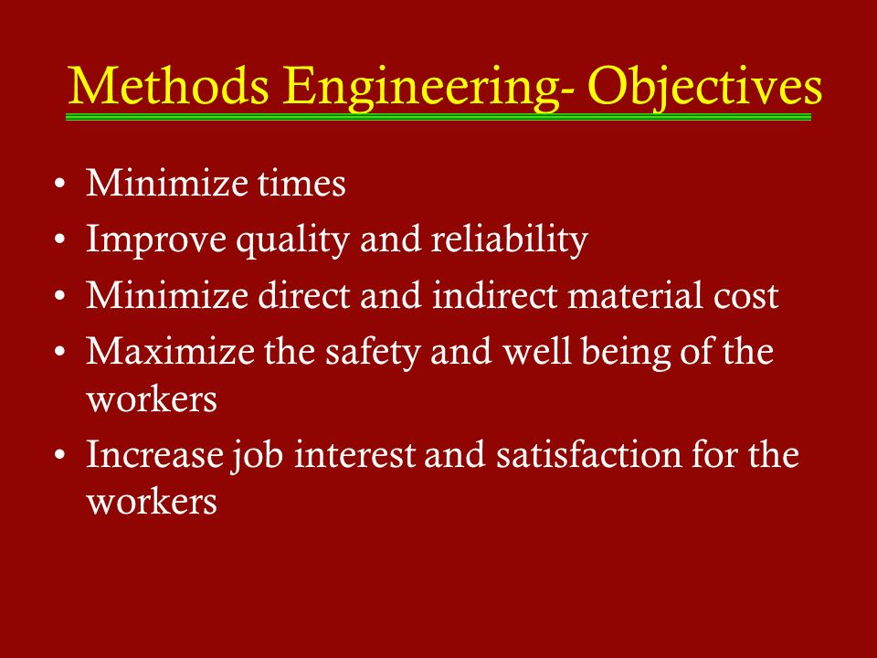 Methods Engineering- Objectives