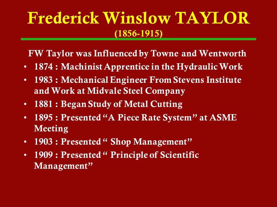 Frederick Winslow TAYLOR (1856-1915)
