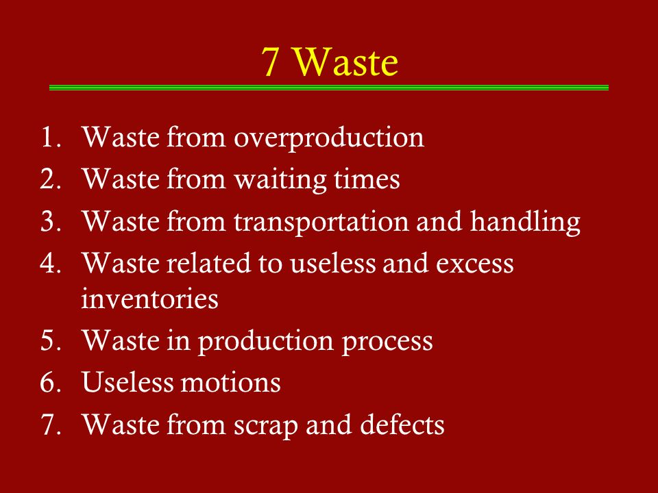 7 Waste Waste from overproduction Waste from waiting times