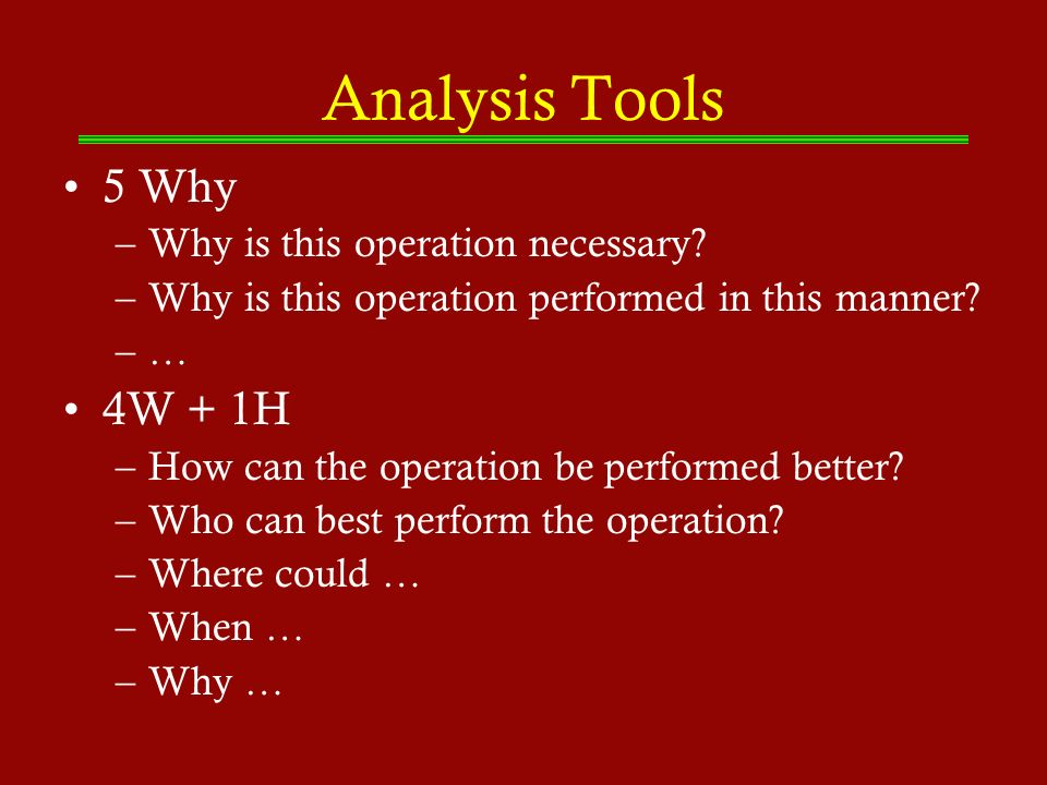 Analysis Tools 5 Why 4W + 1H Why is this operation necessary