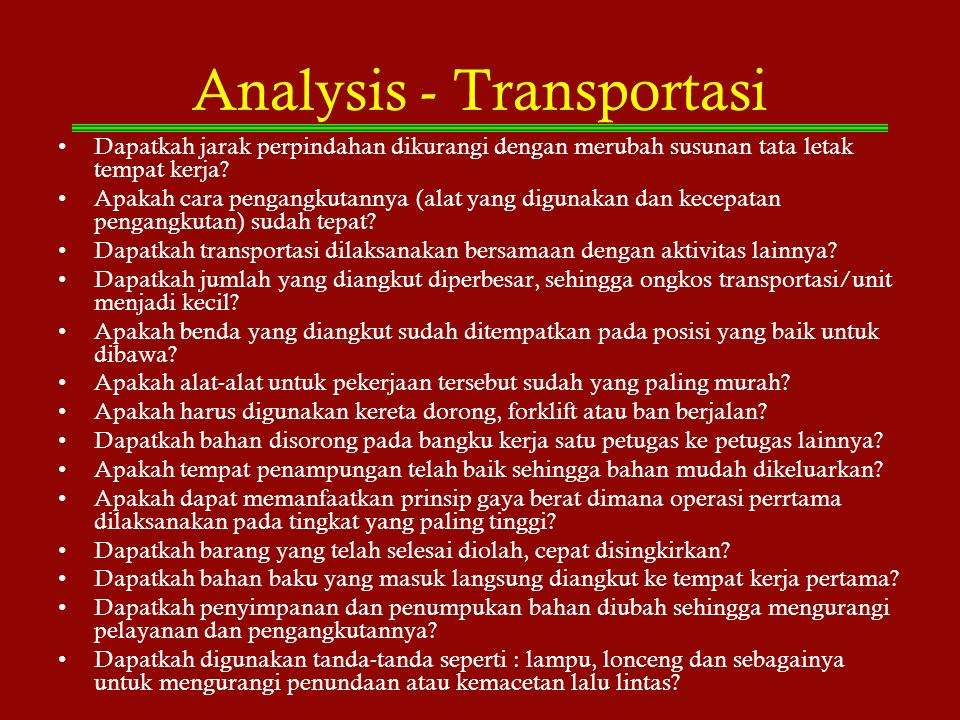 Analysis - Transportasi