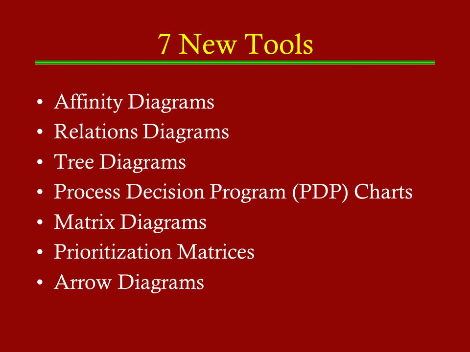 7 New Tools Affinity Diagrams Relations Diagrams Tree Diagrams