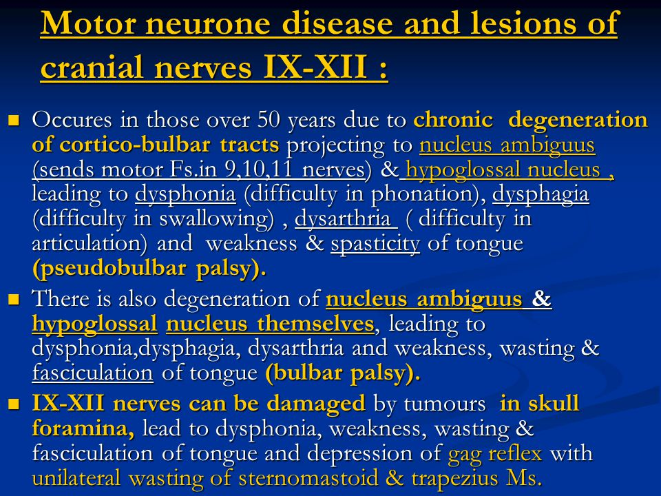 Motor neurone disease and lesions of cranial nerves IX-XII :