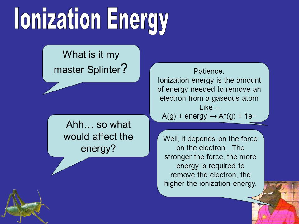 Ionization Energy What is it my master Splinter