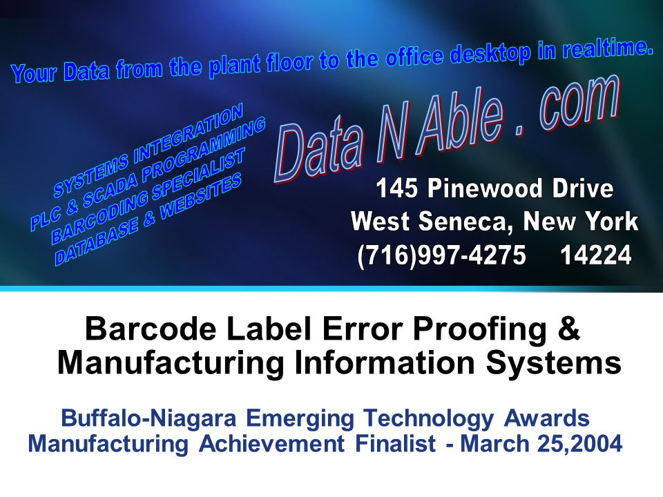 Barcode Label Error Proofing & Manufacturing Information Systems