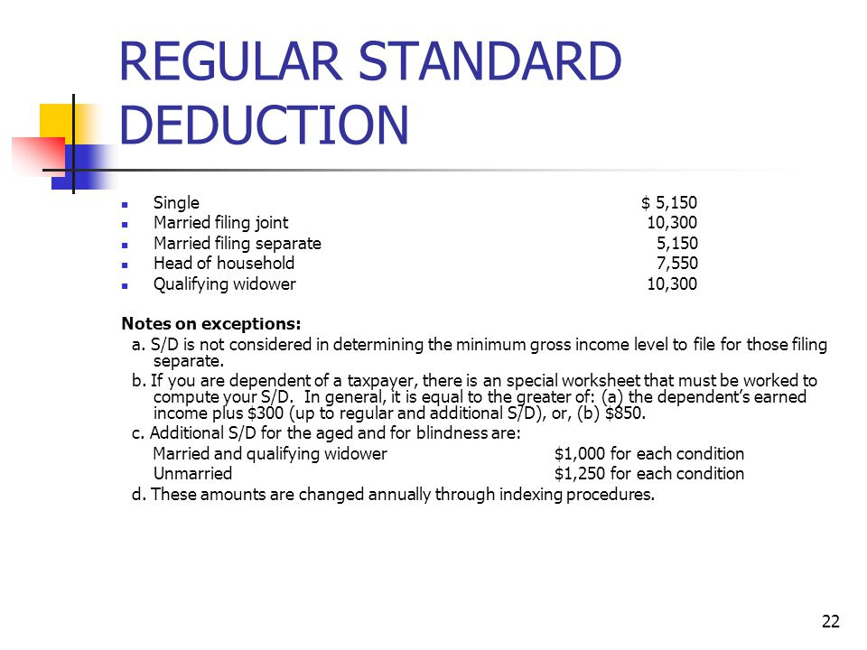 REGULAR STANDARD DEDUCTION