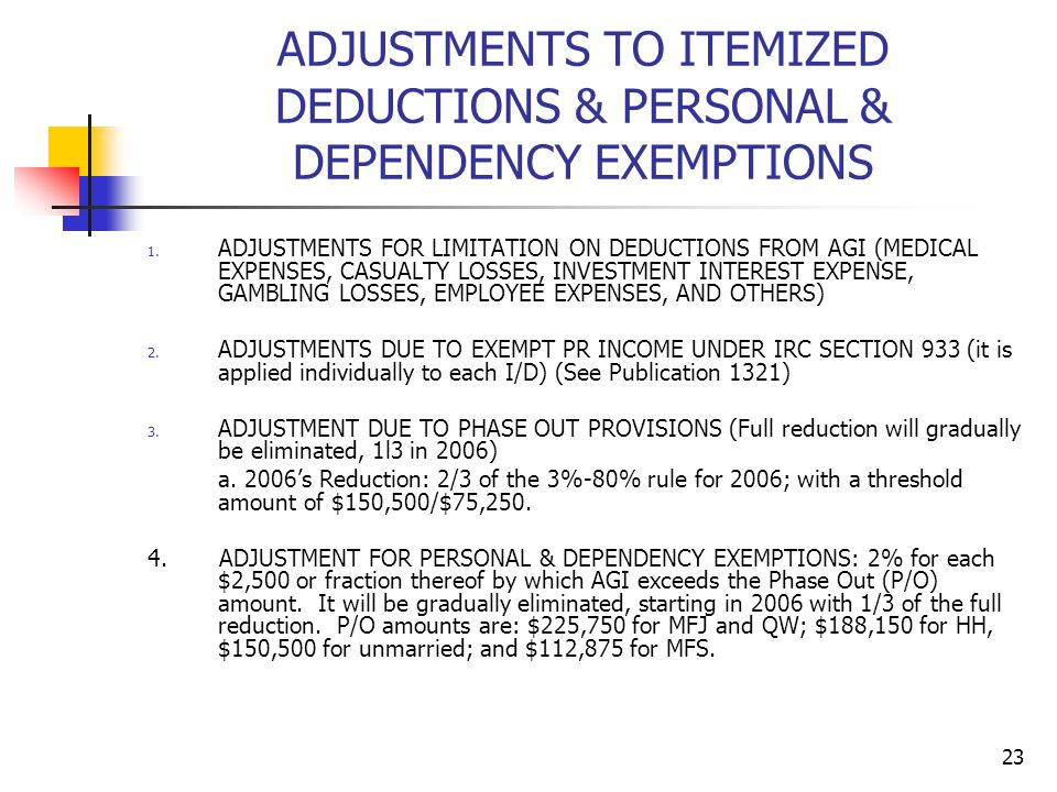 ADJUSTMENTS TO ITEMIZED DEDUCTIONS & PERSONAL & DEPENDENCY EXEMPTIONS