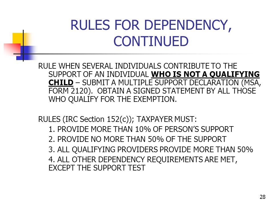 RULES FOR DEPENDENCY, CONTINUED