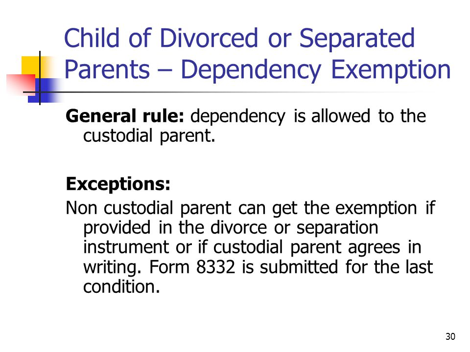 Child of Divorced or Separated Parents – Dependency Exemption