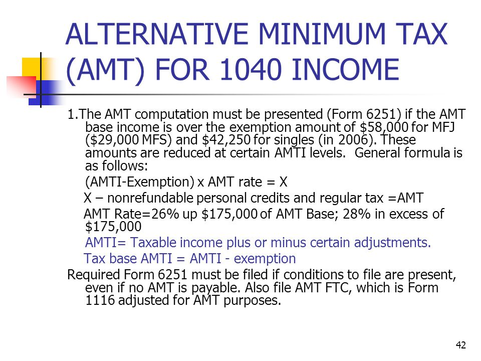 ALTERNATIVE MINIMUM TAX (AMT) FOR 1040 INCOME