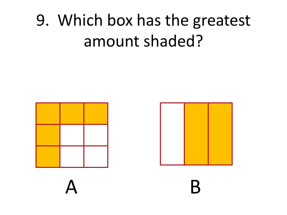 9. Which box has the greatest amount shaded