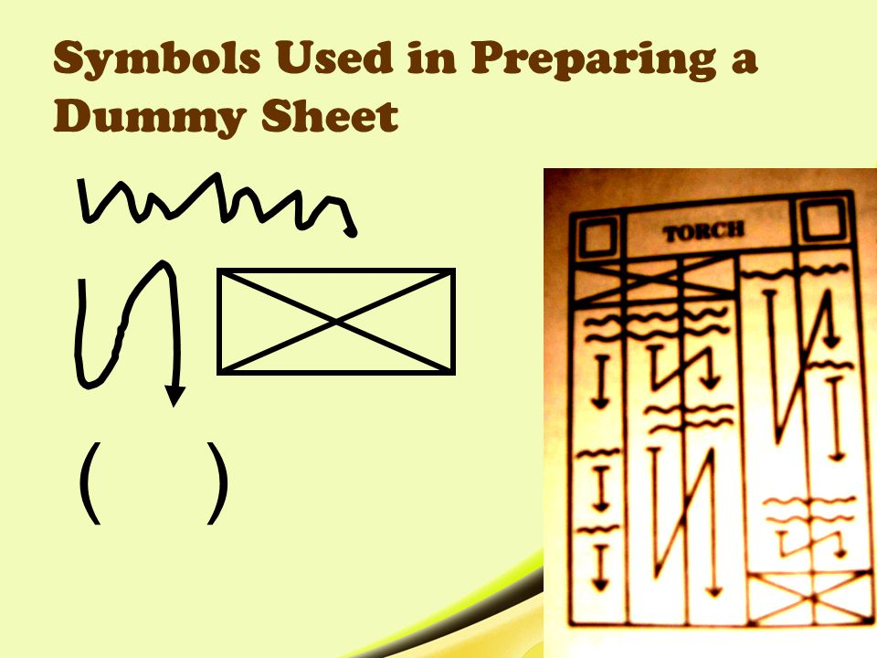 Symbols Used in Preparing a Dummy Sheet