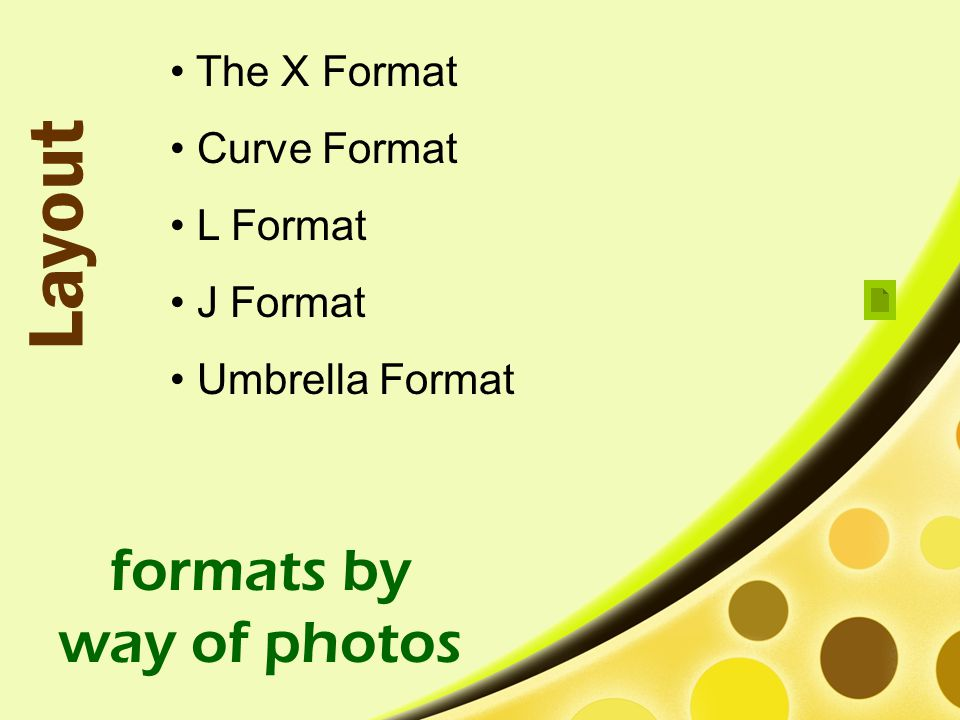 Layout formats by way of photos The X Format Curve Format L Format