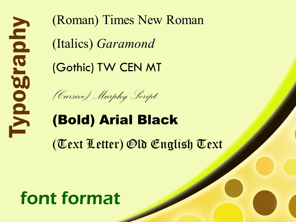 Typography font format (Cursive) Murphy Script (Roman) Times New Roman