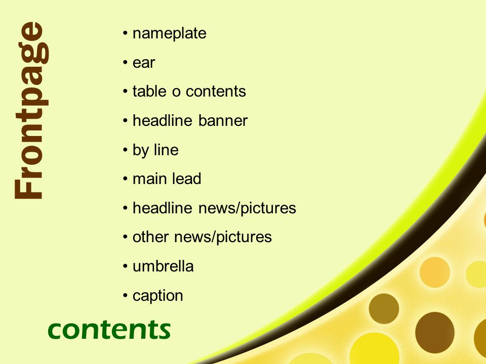 Frontpage contents nameplate ear table o contents headline banner