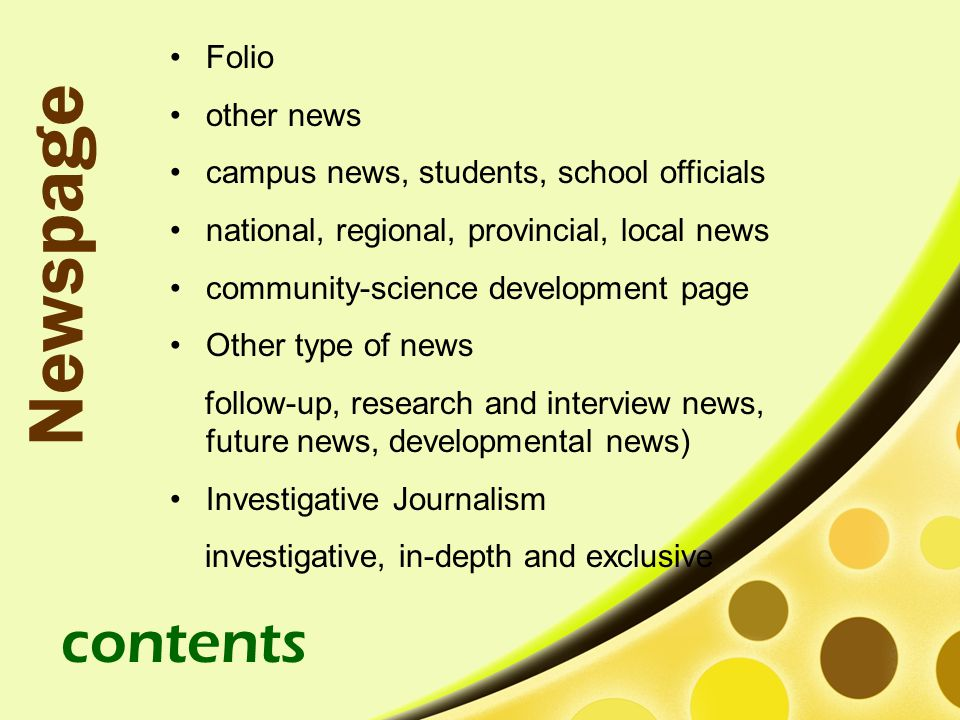 Newspage contents Folio other news