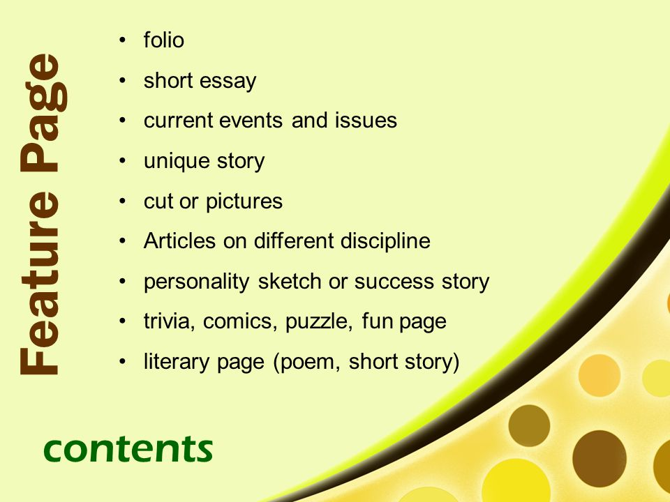 Feature Page contents folio short essay current events and issues
