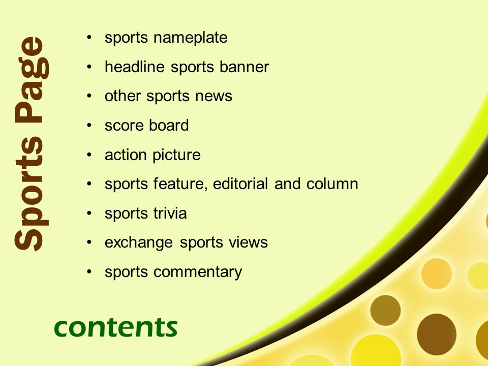 Sports Page contents sports nameplate headline sports banner