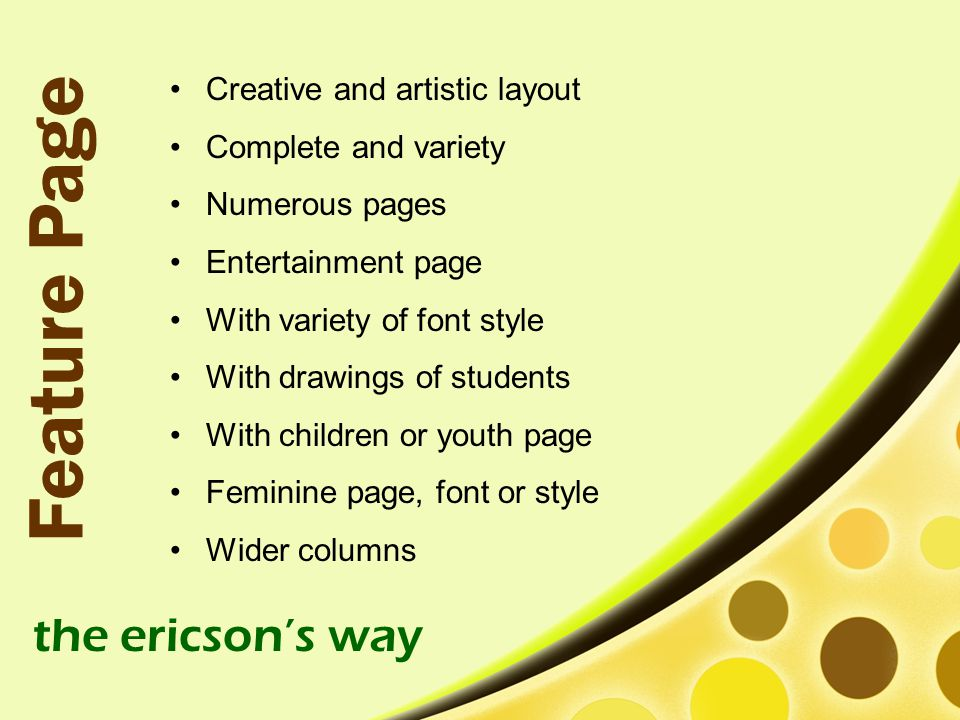 Feature Page the ericson's way Creative and artistic layout
