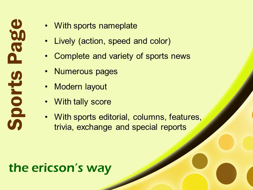 Sports Page the ericson's way With sports nameplate