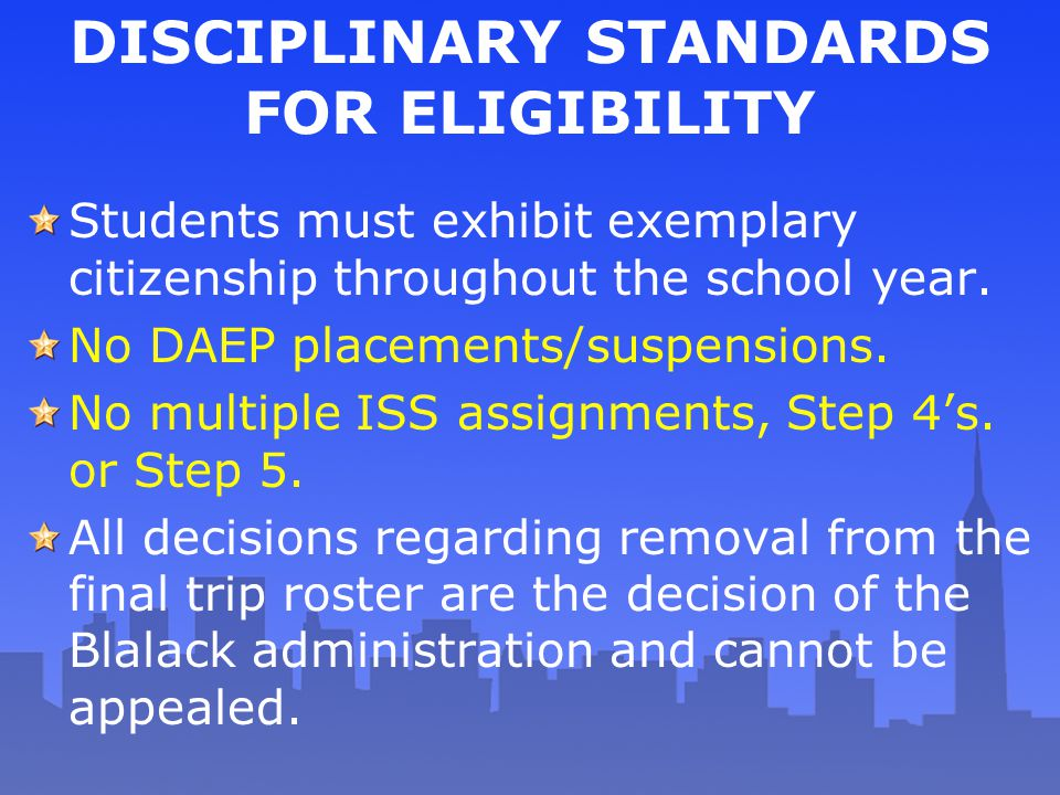 DISCIPLINARY STANDARDS FOR ELIGIBILITY