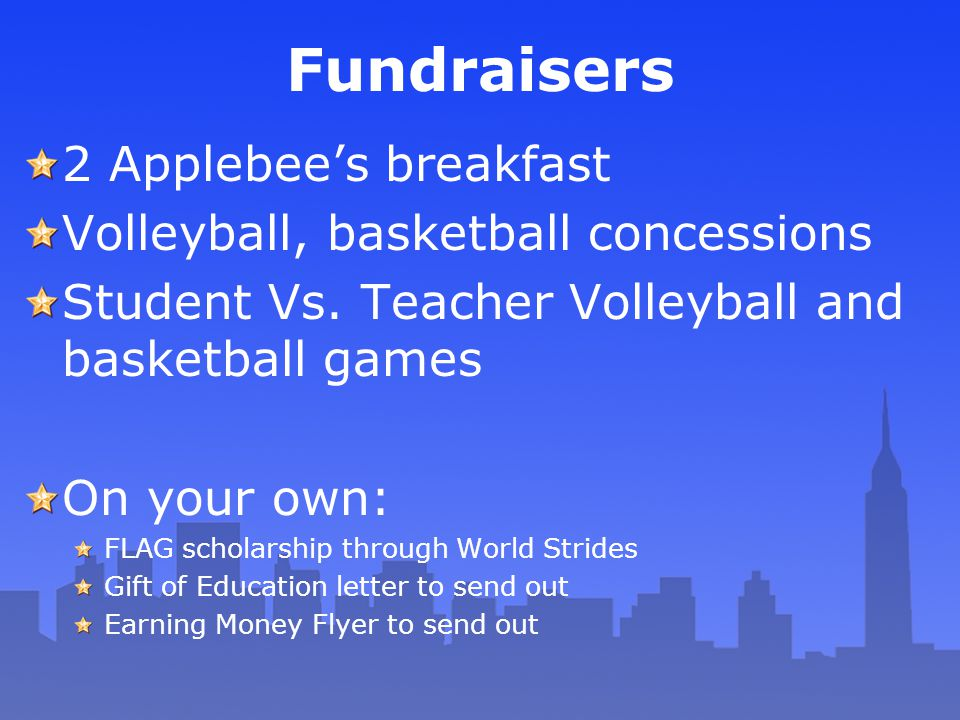 Fundraisers 2 Applebee's breakfast Volleyball, basketball concessions