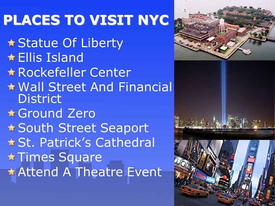 PLACES TO VISIT NYC Statue Of Liberty Ellis Island Rockefeller Center