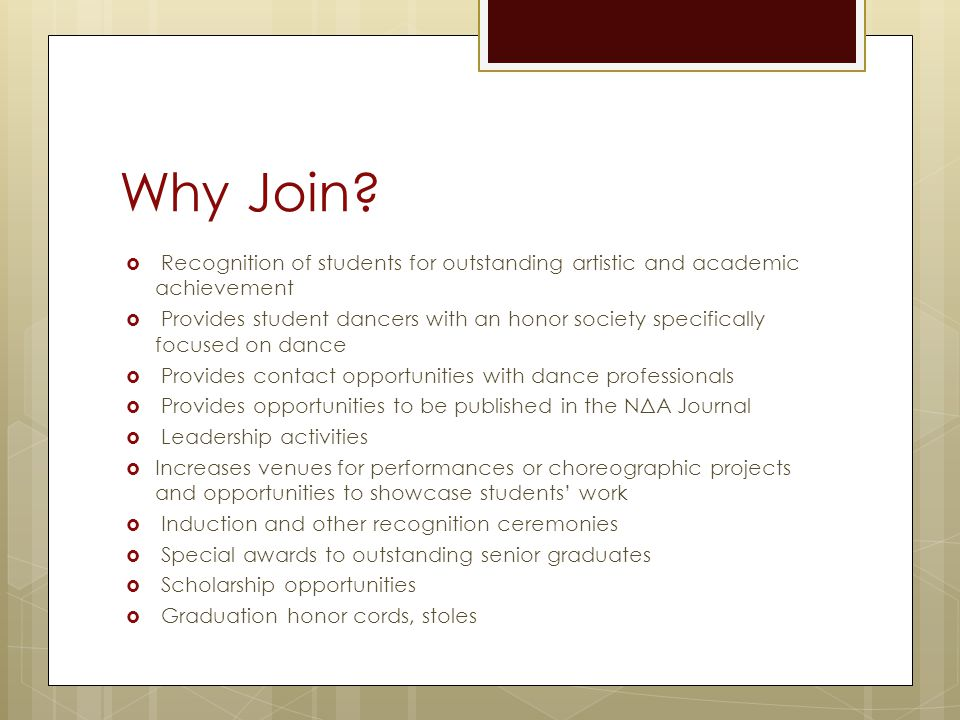 Why Join Recognition of students for outstanding artistic and academic achievement.