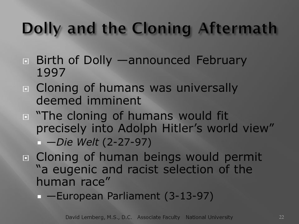 Dolly and the Cloning Aftermath