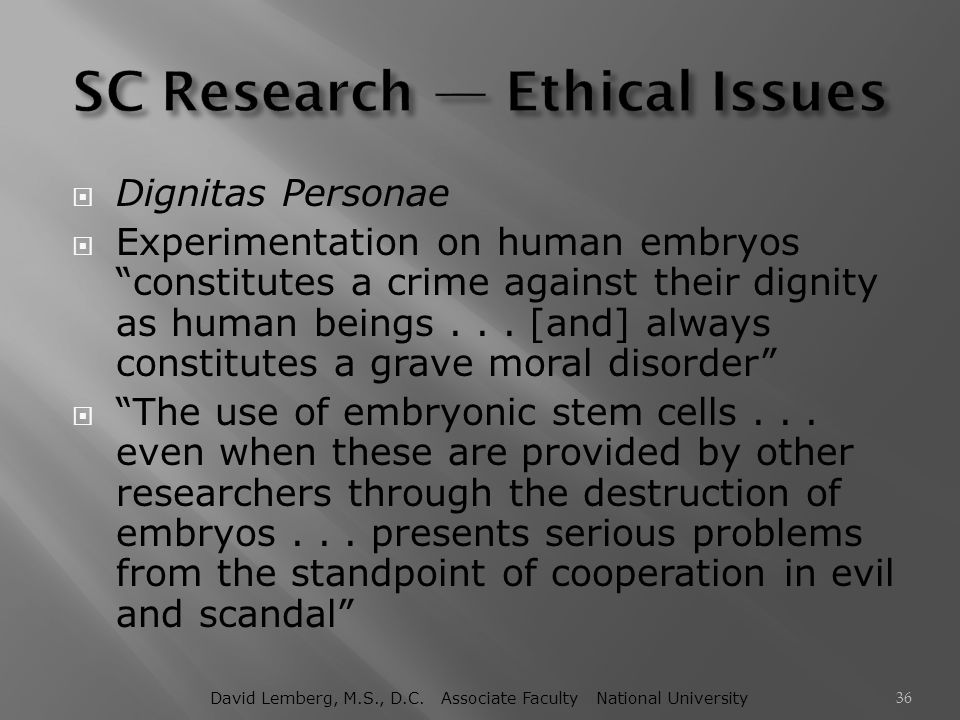 SC Research — Ethical Issues