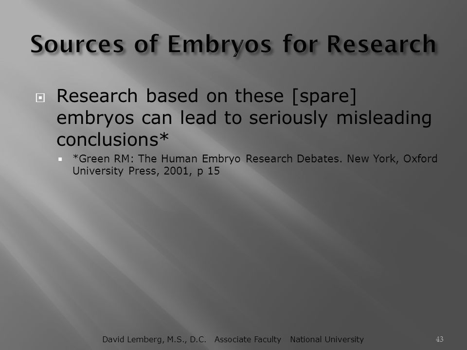 Sources of Embryos for Research