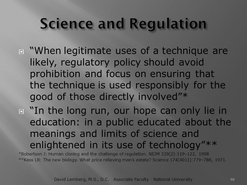 Science and Regulation