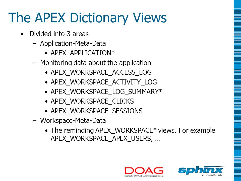 The APEX Dictionary Views