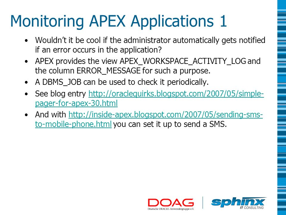 Monitoring APEX Applications 1