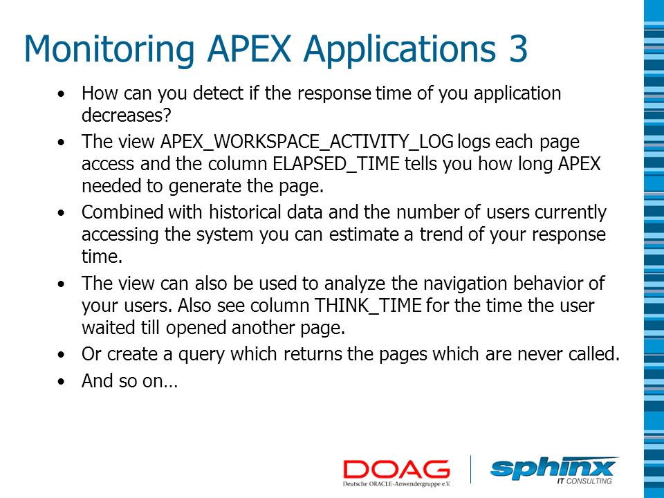 Monitoring APEX Applications 3
