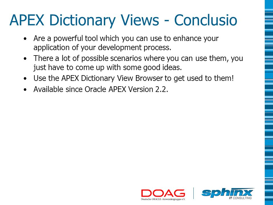 APEX Dictionary Views - Conclusio