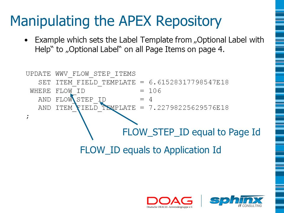 Manipulating the APEX Repository