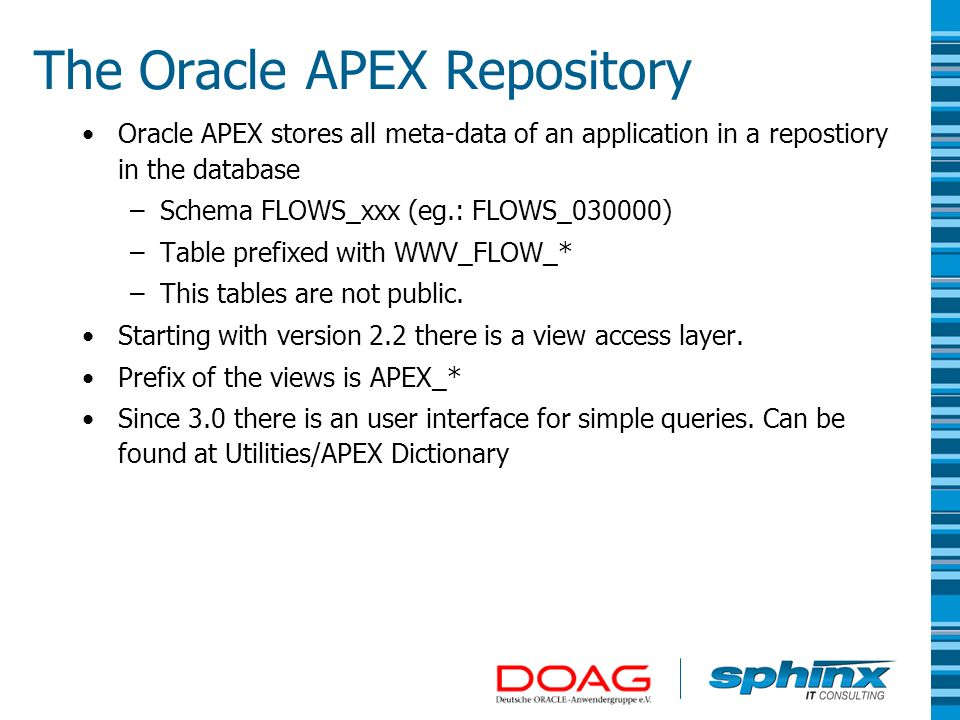 The Oracle APEX Repository