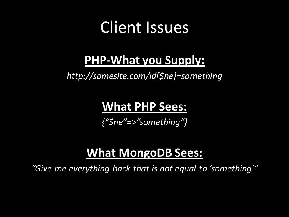 Client Issues PHP-What you Supply: What PHP Sees: What MongoDB Sees: