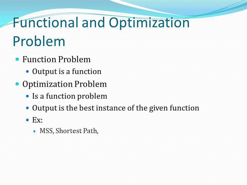 Functional and Optimization Problem