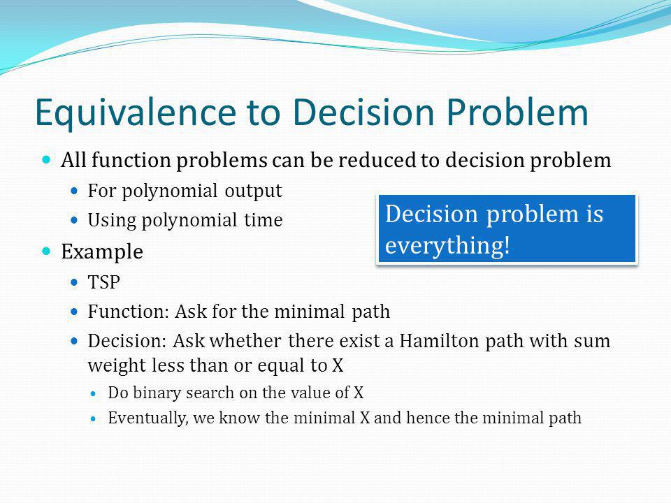 Equivalence to Decision Problem