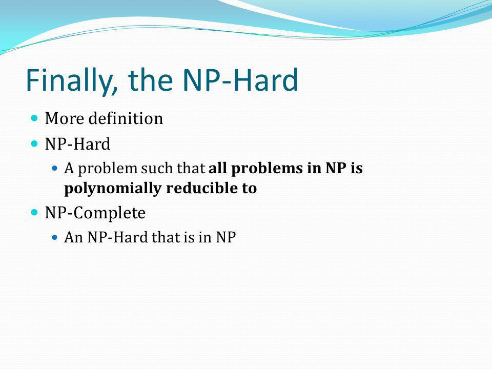Finally, the NP-Hard More definition NP-Hard NP-Complete