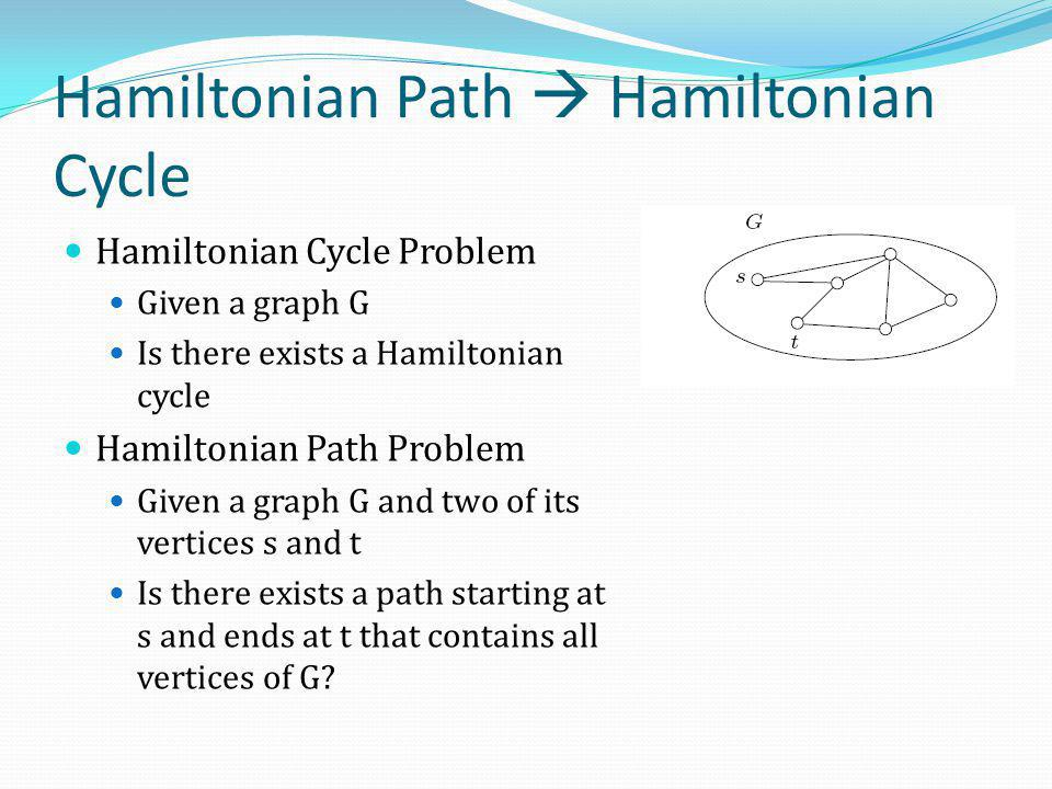 Hamiltonian Path  Hamiltonian Cycle