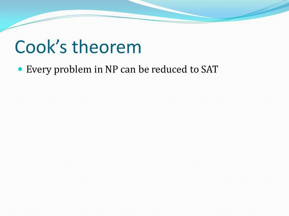 Cook's theorem Every problem in NP can be reduced to SAT