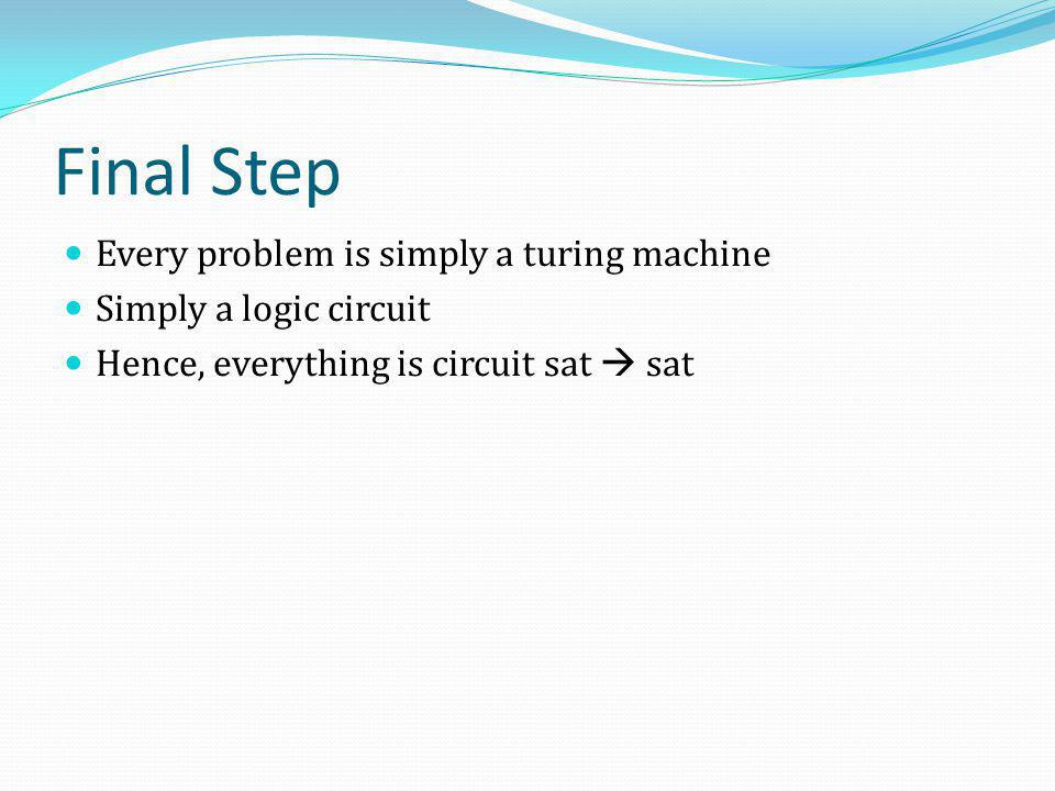Final Step Every problem is simply a turing machine