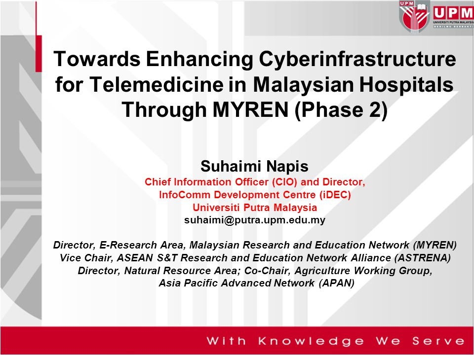 Towards Enhancing Cyberinfrastructure for Telemedicine in Malaysian Hospitals Through MYREN (Phase 2)