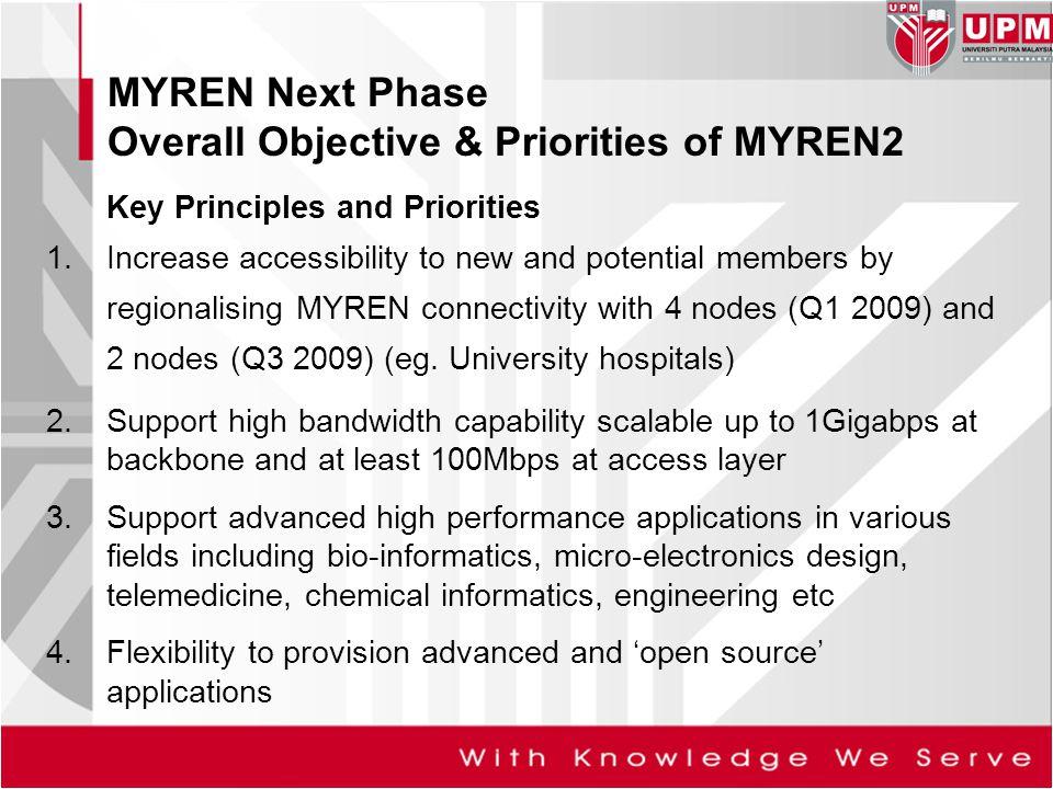MYREN Next Phase Overall Objective & Priorities of MYREN2