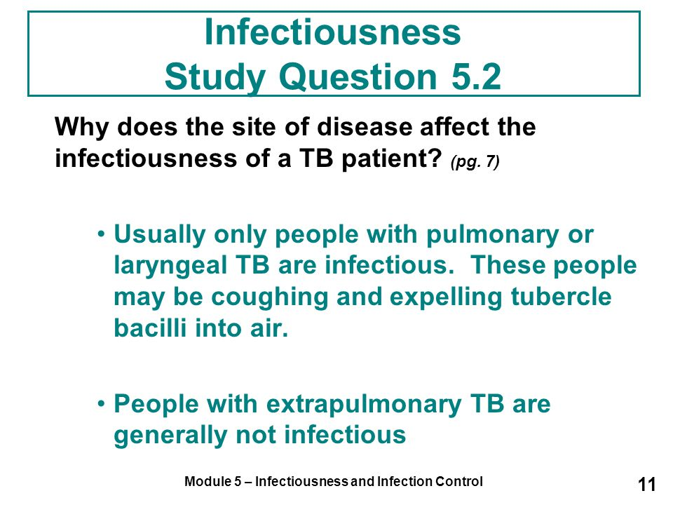 Infectiousness Study Question 5.2