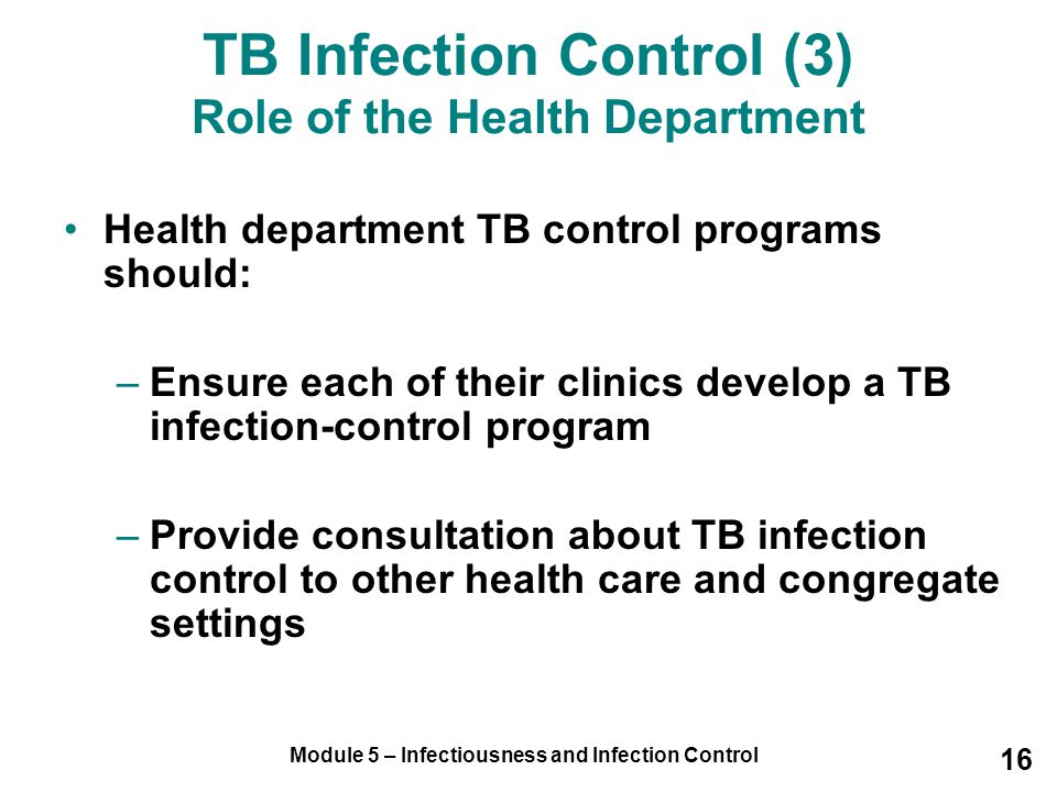 TB Infection Control (3) Role of the Health Department