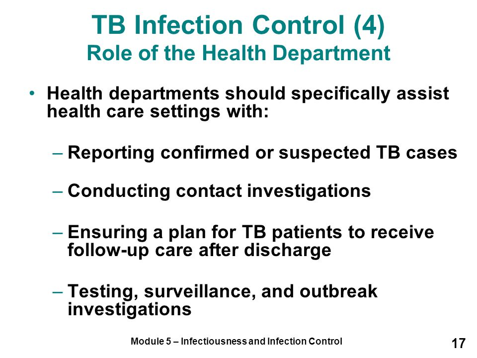 TB Infection Control (4) Role of the Health Department